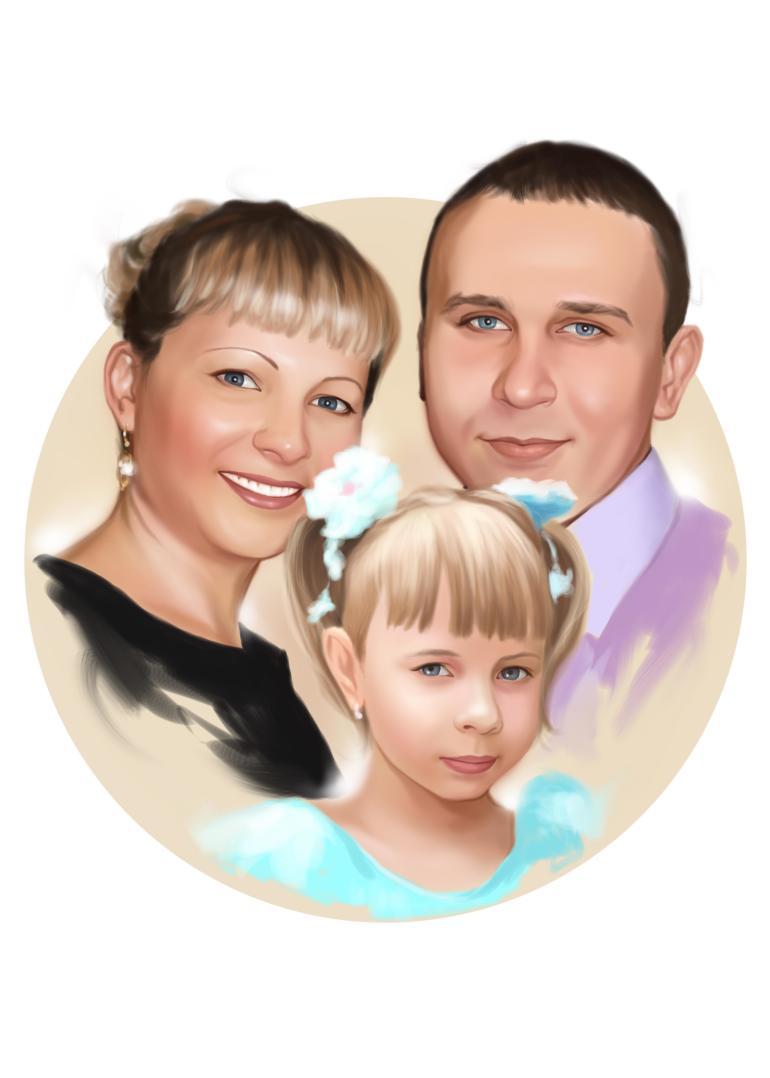 Семейный портрет по фото на холсте в Перми — правильный подарок!