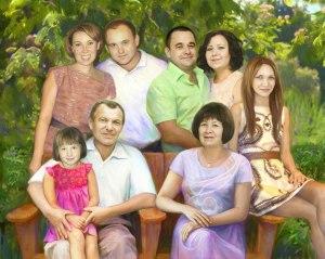 Семейный портрет по фото на холсте в багетной раме
