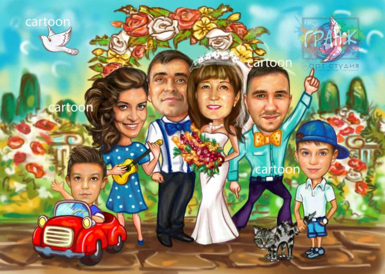 Шарж по фото на годовщину свадьбы на заказ в Перми…